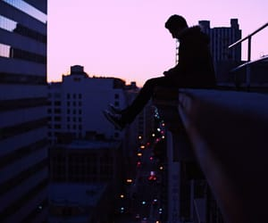 boy, city, and lights image