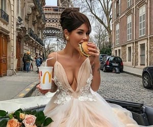 dress, paris, and wedding image