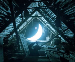 moon, night, and attic image
