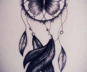 butterfly, dream catcher, and drawing image