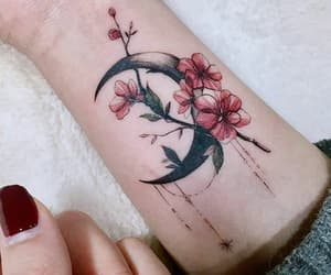 flowers, tattoo, and moon image