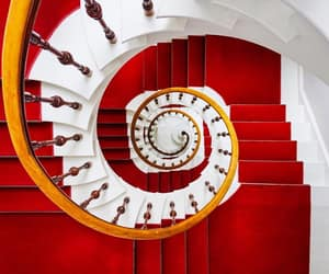 red, spiral, and staircase image