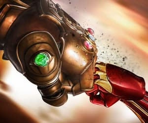 ironman, avengers infinity war, and thanos image