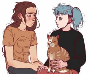 anime, blue hair, and cat image