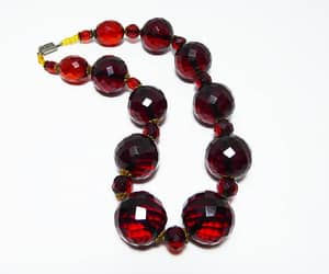 beaded necklace, graduated beads, and vintage 1930s 1940s image