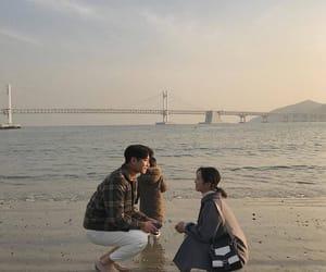 couple, korean, and beach image