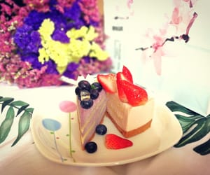 blueberry, flower, and cake image