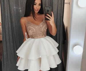homecoming dresses, party dresses a-line, and party dresses white image