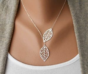 jewelry, leaves, and necklace image