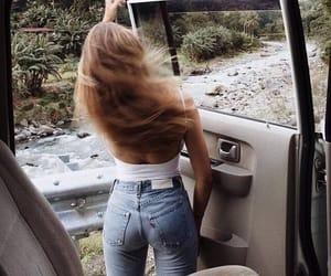 girl, hair, and car image