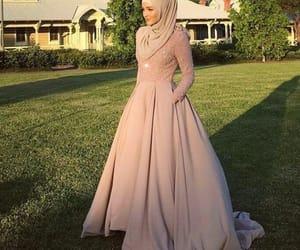 beauty, hijab, and long dress image