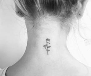 black n white, flower, and small tattoo image