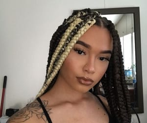 braids, makeup, and pretty image