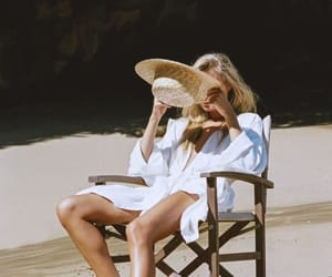 hat, morning, and beach image