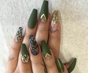 nails, green, and nail art image