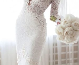 bridal, white, and lace image