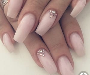 nails, glitter nails, and nude nails image