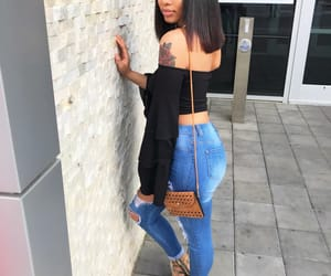 black, straight hair, and high waisted jeans image