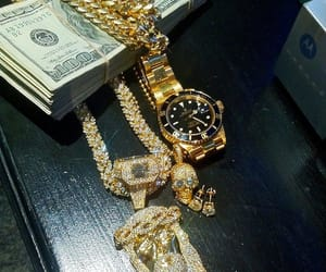money, gold, and watch image