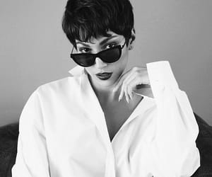 beauty, black and white, and short hair image