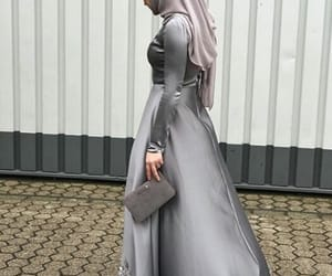 fashion, grey, and hijab image