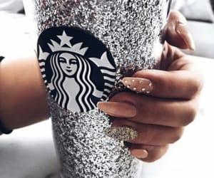 nails, glitter, and starbucks image