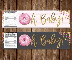 etsy, water bottle label, and donut baby shower image