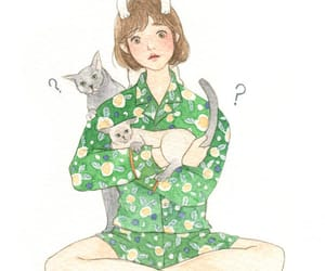 art, cats, and girl image
