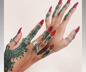 nails, tattoo, and red image