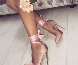 bow, high heels, and light pink image