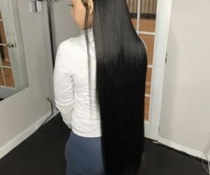 black hair, goals, and long image