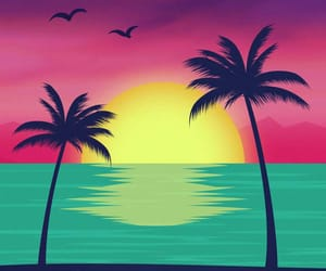beach, palm trees, and tree image
