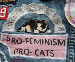 cat, feminism, and grunge image