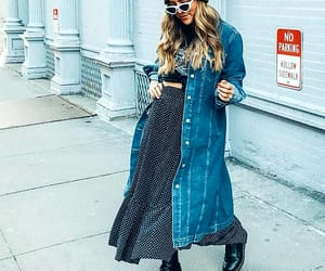 street style, wavy blonde hair, and long blue denim jacket image