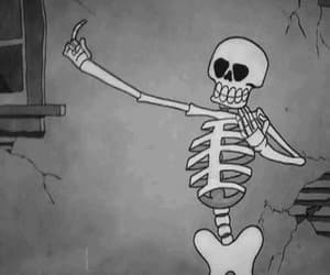 gif, skeleton, and black and white image