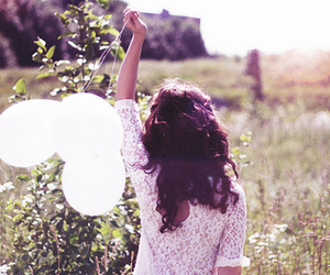 girl, balloons, and nature image