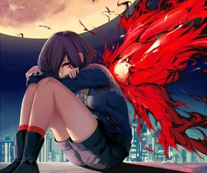anime, city, and wing image