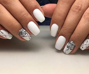 black and white, chic, and nail art image