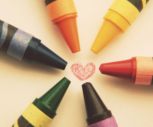 color, love, and crayons image
