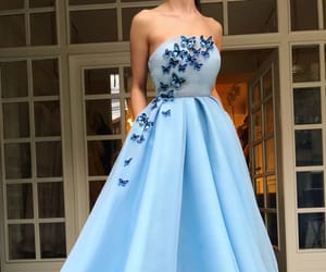blue, evening gown, and dress image