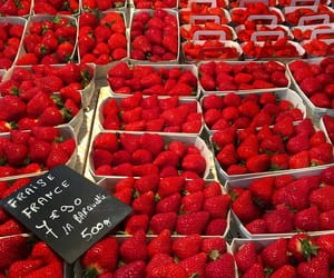 red, strawberry, and fruit image