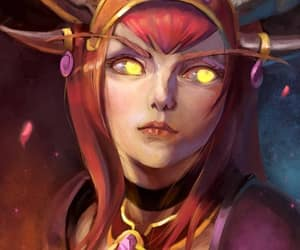 alexstrasza, the life-binder, and golden eyes elf form image