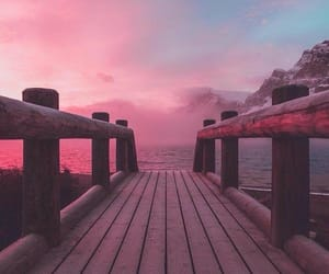 pink, sky, and bridge image