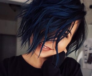 blue hair, color, and crazy hair image