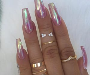 nails, holographic, and rings image