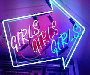girls, neon, and blue image