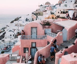 travel, Greece, and pink image