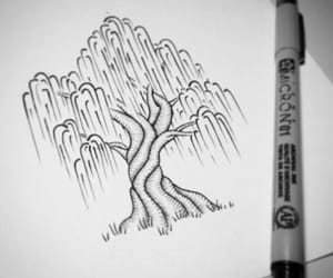 art, draw, and tree image