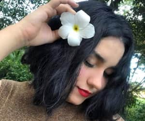 flower, girl, and nature image