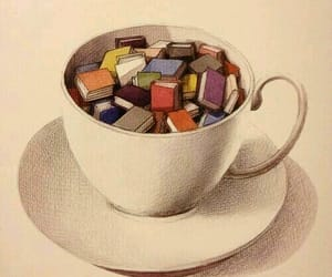 book, cup, and tea image